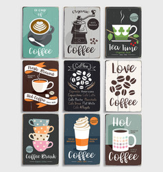 Coffee and tea vintage poster vector