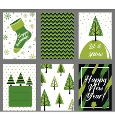 Collection of 6 Christmas card templates vector