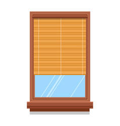 Curtain or bamboo blinder on wooden window vector