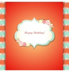 Cute orange and mint happy birthday card vector image