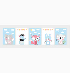 cute posters with little bear zebra fox hare vector image