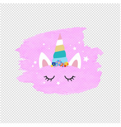 cute unicorn face and pink blob transparent vector image