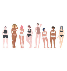 Different women figures in row set isolated vector