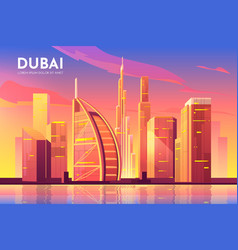 dubai uae city united arab emirates cityscape vector image