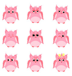 Emotions of pink owls vector