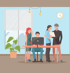 employees spend time together business people vector image