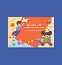 facebook template with international literacy day vector image