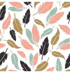 Feather seamless pattern in boho colors vector