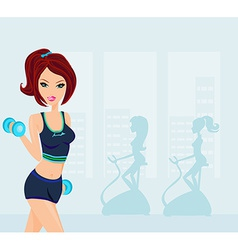 fitness woman exercising in gym vector image