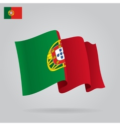 Flat and waving Portuguese Flag vector