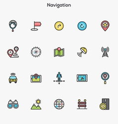 Flat line color icons Navigation vector