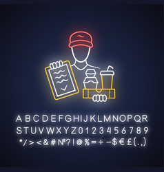 food delivery neon light icon express courier vector image