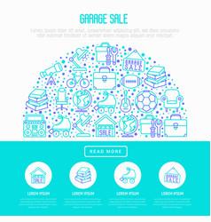 Garage sale concept in half circle vector