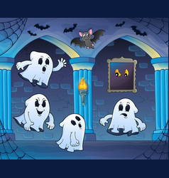 Ghosts in haunted castle theme 3 vector