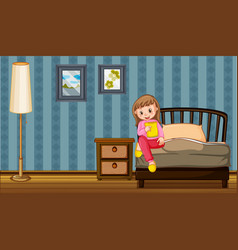 Girl eating snack in bedroom vector