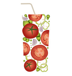 Glass gazpacho typical refreshing drink vector