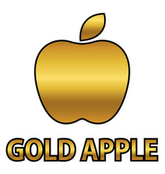 Golden apple symbol with gold text vector
