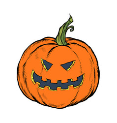 halloween pumpkin scary face festive character vector image