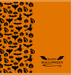 halloween symbols vertical ornament greeting card vector image