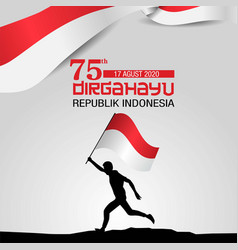 Happy independence day indonesia man running vector
