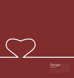 Heart ribbon on red background minimal style for vector