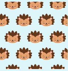 hedgehog seamless pattern on blue background cute vector image