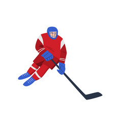 Hockey player with a stick on the ice goes fast vector