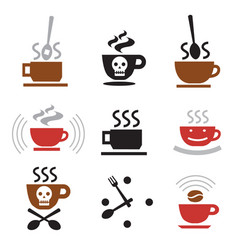 hot coffee funny icons vector image