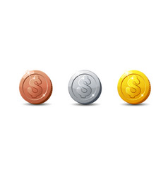 Icons coinsset of cartoon coin for web game or vector