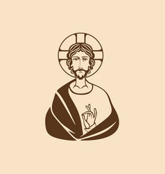 Image of jesus christ painted by hand vector