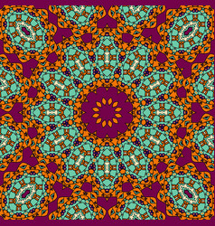 Indian mandala in red and green color vintage vector