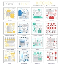 infographics mini concept kitchen tools icons vector image