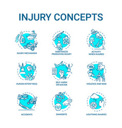 Injury factors concept icons set trauma causes vector