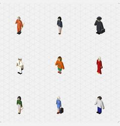 Isometric human set of girl pedagogue seaman and vector