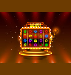 jackpot slots neon icons casino slot sign machine vector image
