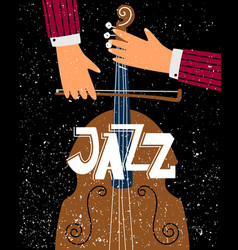 Jazz contrabassist play on musical instrument vector