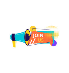 Join us badge label vector