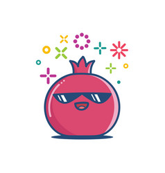Kawaii pomegranate fruit icon cartoon vector