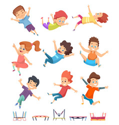 Kids jumping trampoline children athletic vector
