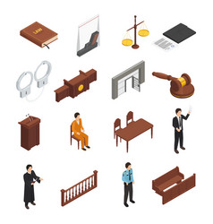 Law justice isometric icons set vector