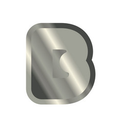 letter b steel font metal alphabet sign iron abc vector image