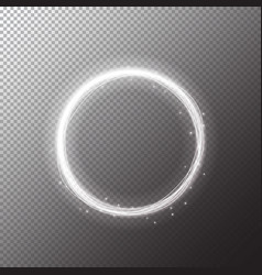 magic white circle glowing fire ring trace vector image