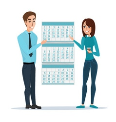 Man and woman show Deadline and calendar time and vector