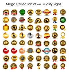 Mega Collection Set of 64 Quality Label Signs vector image