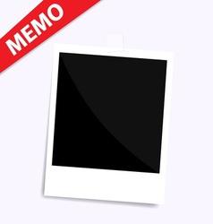 memo polaroid photo on wall isolated vector image