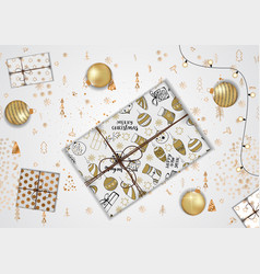 merry christmas greeting card with creative gift vector image