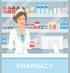 Modern interior drugstore vector