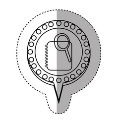 Monochrome sticker with phone book search in vector