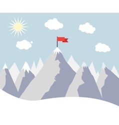 Mountain Peak with Red Flag vector