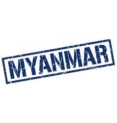 Myanmar blue square stamp vector